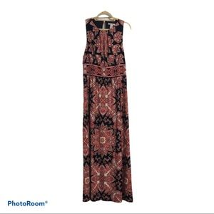 London Times Pleat Neck Maxi Dress Navy/Coral Pink